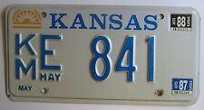 Kansas 1988 KINGMAN COUNTY License Plate NICE QUALITY # KM E 841