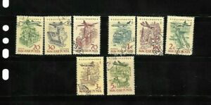 HUNGARY 1966-67   SC C 262/274 PLANE OVER CITIES  AIR POST  8 STAMPS