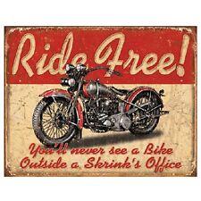 Ride Free Motorcycle Distressed Retro Vintage Harley Indian Metal Tin Sign New