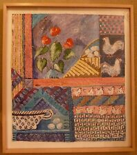 """Signed Art Hand painted Framed Original Quilt Textile Canvas Chicken 35"""" x 31"""""""