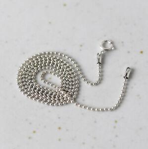 I05 Chaine Boules Perles en Argent Sterling Argent 925 Longueur au Choix 1 MM