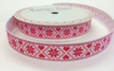 Bertie's Bows Christmas Snowflake Design 16mm White Grosgrain Ribbon on 3m Roll