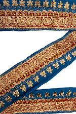 "Vintage Border Embroidered Lace Sari Trim 5"" Wide Woven Antique Ribbon ST2570"