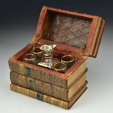 Antique French Book Liquor Tantalus Decanter and 4 Glass Set
