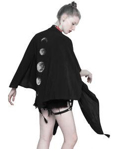 Punk Rave Womens Gothic Shawl Shrug Wrap Top Black Moon Phase Poncho Cloak Witch