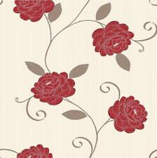 Cream Red Brown Wallpaper Metallic Leaf Highlights Flower Feature