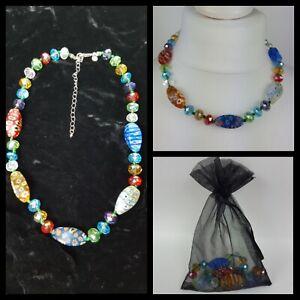 Marks And Spencer Glass Art Colourful Boho Necklace 53cm Length