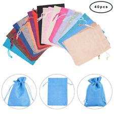 40PC NATURAL LINEN BURLAP JUTE Drawstring Pouch Gift Bags Wedding Favor Sack