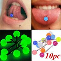 10Pcs Glow In The Dark Tounge Rings Bars Luminous Barbell Body Piercing Jewelry
