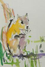 JOSE TRUJILLO - ORIGINAL Watercolor Painting SIGNED MODERN Chipmunk Contemporary