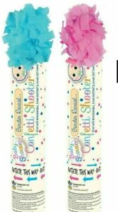 NEW BABY SHOWER GENDER REVEAL CONFETTI SHOOTER CANNON PINK BLUE POPPER PARTY