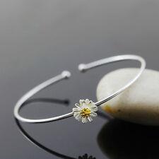 Women Silver Plated Daisy Flower Bangle Sunflower Bracelet Fashion Jewelry 1pcs