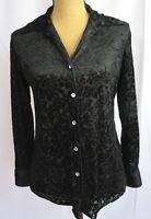 Bentley Womens sz Small Blouse Black Burnout Velvet V-neck Button Down L/S Sheer
