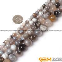 """Natural Stone Botswana Agate Gemstone Round Beads Strand 15"""" 6mm 8mm 10mm 12mm"""