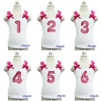 Girls 1st 2nd 3rd 4th 5th 6th Hot Pink Polka Dots Number Birthday Party Tank Top