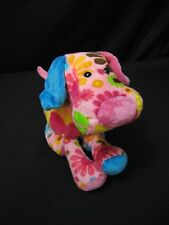 "DOG PUPPY w/ FLOWERS Pink Yellow Blue Boutique Plush Stuffed Animal 9"" Douglas"