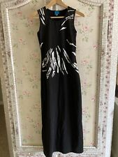 Christian Lacroix Black Silver Sheer Net Maxi Jersey Dress xs