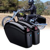 Motorcycle Hard Saddlebags w/ Lights For Honda Sportster Dyna Suzuki Cruiser