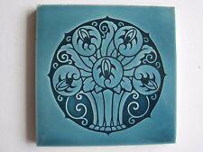 ANTIQUE ART NOUVEAU BLUE GLAZED TILE - STYLISED BASKET OF FLOWERS