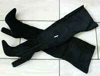 New Ladies Black Thigh High Over The Knee Ribbed Velvet Boots Shoes Sizes UK 4 5