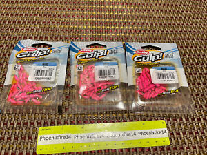 3 New Packages Berkley Gulp! Ice Waxies Pink 30 Ct Each