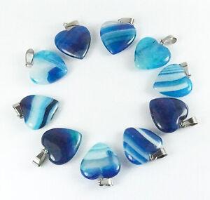 Natural stone Blue Onyx Agate heart pendants bulk jewellery making crafts 2cm
