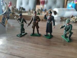 Starlux Lot de 4 Soldats Militaires Figurines anciennes ( Bel état ) allemand