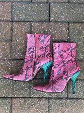 Free Lance classics, pink and turquoise snakeskin ankle boots EU 37, UK 4, US 7
