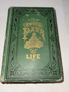Vintage 1879 The Royal Path Of Life Dark Green fabric cover Printed Engravings