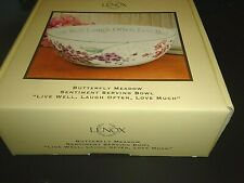 NIB - Lenox Butterfly Meadow Sentiment Serving Bowl Live Well, Laugh Often, Love