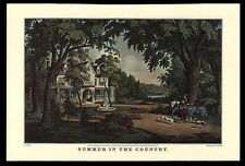 """VINTAGE 1964 """"SUMMER IN THE COUNTRY"""" VICTORIAN CALENDAR ART PRINT CURRIER &IVES"""