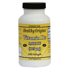 Vitamin D-3, 5000iu x 360 Softgels, Colds, Healthy Origins 24Hr Dispatch