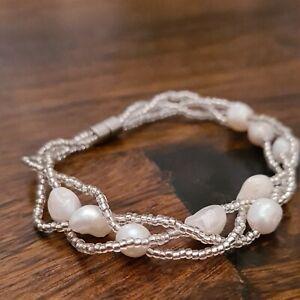 Real Freshwater Pearl Megnetic Bracelet Baroque Multi Layer twist size L 18 cm