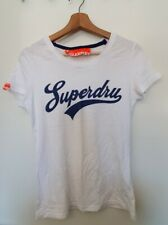Superdry Womens Tshirt Size M White With Blue Logo