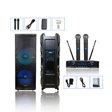 """STARAUDIO 5000W Dual 15"""" PA Active DJ Powered Speaker System 2CH Wireless Mic"""