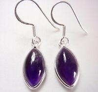Amethyst Marquise 925 Sterling Silver Dangle Earrings Corona Sun Jewelry