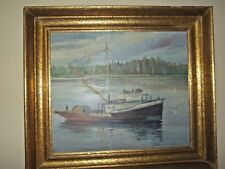 EUROPEAN FISHING VESSEL AT THE SWEDISH SKERRIES  /  OIL ON BOARD & SIGNED