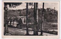 Ansichtskarte Isartal - Grünwald - Partie mit Brücke - Stempel Uffenheim - s/w