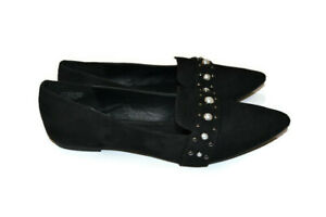 LONDON REBEL Black Suede Pointed Pearl Metal Accent Flat Slip On Shoes Size 8