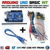 Arduino UNO Basic Kit CH340G MB102 830 Breadboard 65pcs jumper cable USB