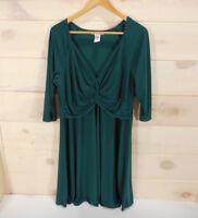 Love Squared Knit Dress Women's Plus Size 2X 3/4 Sleeve Twist Front Green A-Line