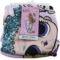 "LOL Surprise Glitterati 28"" x 58"" Beach Bath Pool Towel for Girls Purple"