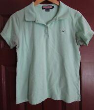 Vineyard Vines Women Light Green Cotton Blend Polo Shirt Medium