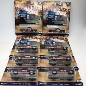 8pcs Hot Wheels Car Culture 83 Chevy Silverado Shop Trucks Real Riders 3/5