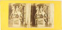 Francia Castillo Estatua Rey, Foto Estéreo Vintage Albúmina PL62L5