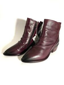 Mode In Pelle Lizbethy Leather Ankle Boots Burgundy Size Uk 6 / 39
