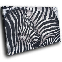 Zebra Herd Fur  Pattern Funky Animal Canvas Wall Art Large Picture Prints