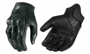 Icon Pursuit Womens Black Large Motorcycle Riding Street Racing Leather Gloves