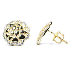 Iced Round Men's Small 14k Gold Hip Hop Stud Diamond Cut Solid Nugget Earrings