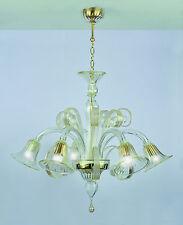 Lampadario In vetro di Murano Cristallo Oro 5 luci